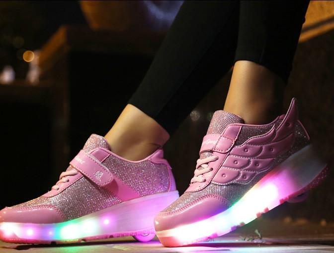 Rullesko med LED lys | LED sko med hjul | Rulle sko til barn