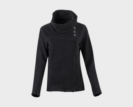 Zip fleece jakke (svart)